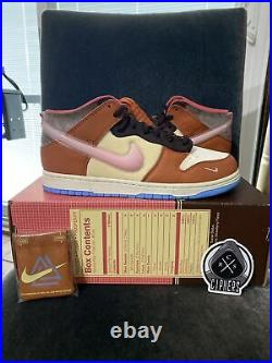 Size 10 Nike Dunk Mid Social Status Free Lunch Chocolate Milk DJ1173-700