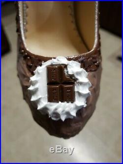 Size 7 Custom Women's Chocolate Ice Cream Chunky High Heel Shoes