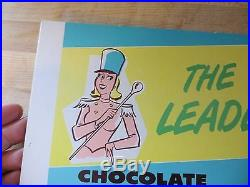 Smith Ice Cream Chocolate Marshmallow Sunday, figral lady marching cardboard sign