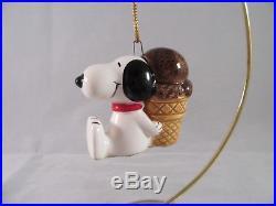 Snoopy Ornament Ceramic Japan Peanuts Ufs 1958,1966 Chocolate Ice Cream Cone