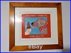 Stephen Huneck Dog Folk Art Signed Woodcut Print Chocolate Ice Cream 34/250