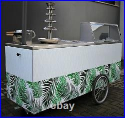 Street Food Roll Thai Ice Cream Machine with Chocolate Fountain with Bubble Waffle