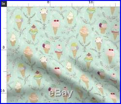 Tablecloth Ice Cream Floral Mint Brown Chocolate Icecream Candy Cotton Sateen