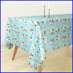 Tablecloth Ice Cream Ice Cream Cones Blue Vanilla Chocolate Food Cotton Sateen