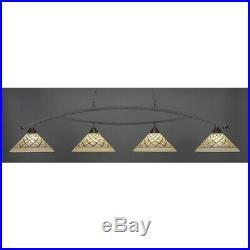 Toltec Lighting Bow 4 Light Billiard Light, Chocolate Icing Glass 874-DG-718