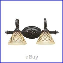 Toltec Lighting Elegante 2Light Bath Bar, 7' Chocolate Icing Glass 162-DG-7185