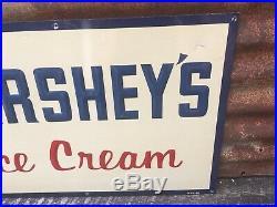 VINTAGE HERSHEYS ICE CREAM SIGN 21x14in METAL Hershey Chocolate Antique Old