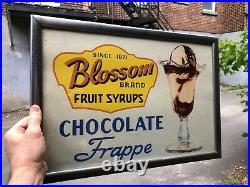 VINTAGE c. 1950 DINER MALT SHOPPE CHOCOLATE FRAPPE CHROME FRAMED ICE CREAM SIGN