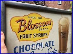 VINTAGE c. 1950 DINER MALT SHOPPE CHOCOLATE ICE CREAM SODA CHROME FRAMED SIGN