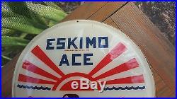 Vintage 1950's Eskimo Ace Chocolate Ice Cream Bar Candy Soda Fountain Sign RARE
