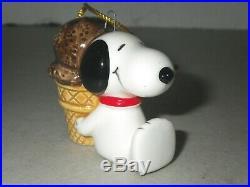 Vintage 1966 Peanuts Snoopy Chocolate Ice Cream Cone Christmas Ornament Japan