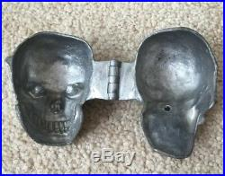 Vintage Antique Pewter Butter Ice Cream Chocolate Mold Halloween Skull