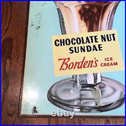 Vintage Bordens Ice Cream Wood Pressed Board Sign Chocolate Nut Sundae
