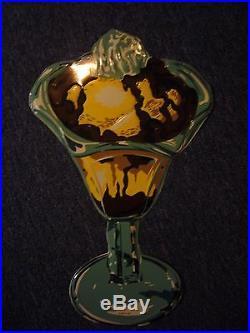 Vintage Embossed Tin Chocolate Sundae Sign Ice Cream Soda Fountain Near Mint