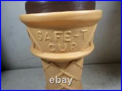 Vintage Giant Over-Size Safe-T Cup Chocolate Soft Serve Ice Cream Cone Bank