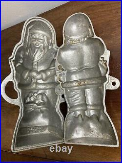 Vintage HELLO KIDDIES Cast Metal Santa Cake Chocolate Icecream Mold NOT Griswold