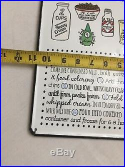 Vintage Heavy Metal and porcelain Mint Chocolate Chip Ice Cream Recipe Sign
