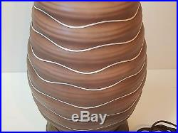 Vintage Modern Ceramic Art Pottery Table Lamp Brown Chocolate Ice Cream Glaze