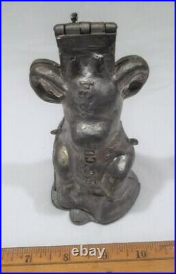 Vintage Pewter Ice Cream Chocolate Mold Borden's Elsie the Cow #1234 Dbl Hinge
