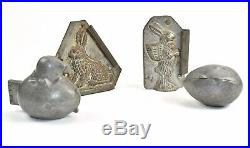Vintage Pewter S&C Chocolate Ice Cream Mold Easter Bunny Egg Chick Lot of 4