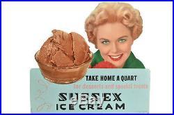 Vintage SUSSEX ICE CREAM Advertising Sign-Die Cut Cardboard-Chocolate Dessert