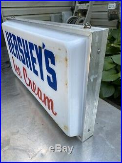 Vtg HERSHEY'S Chocolate Ice Cream Lighted Sign DUALITE Double Sided Dealer Store